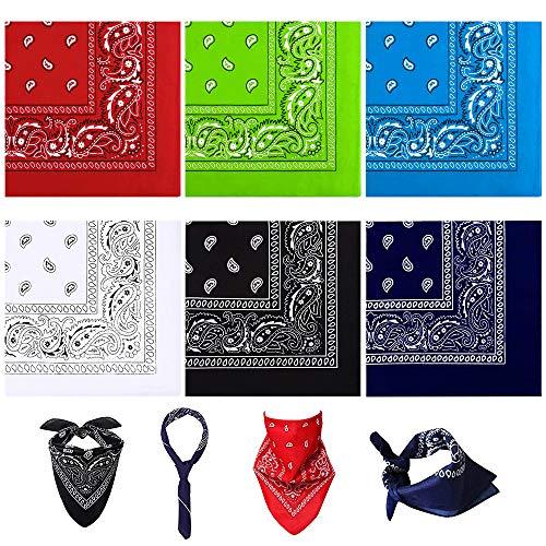 UBERMing Pañuelo para la cabeza para hombre y mujer, 100 % algodón, 6 unidades, con estampado de cachemira original y cachemira, 54 x 54 cm, pañuelo para la cabeza, bufanda, pañuelo cuadrado