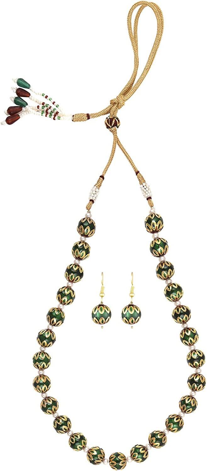 Efulgenz Indian Bollywood Ethnic Green Traditional Necklace Set Jewelry for Women
