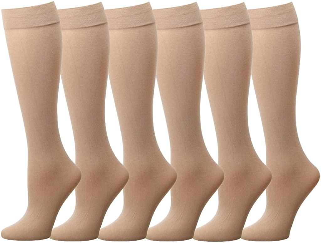 Falari 6 or 12 Pairs Women Trouser Socks with Comfort Band Stretchy Spandex Opaque Knee High