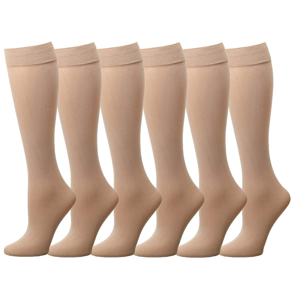 Falari 6 or 12 Pairs Women Trouser Socks with Comfort Band Stretchy Spandex Opaque Knee High pudoppo61