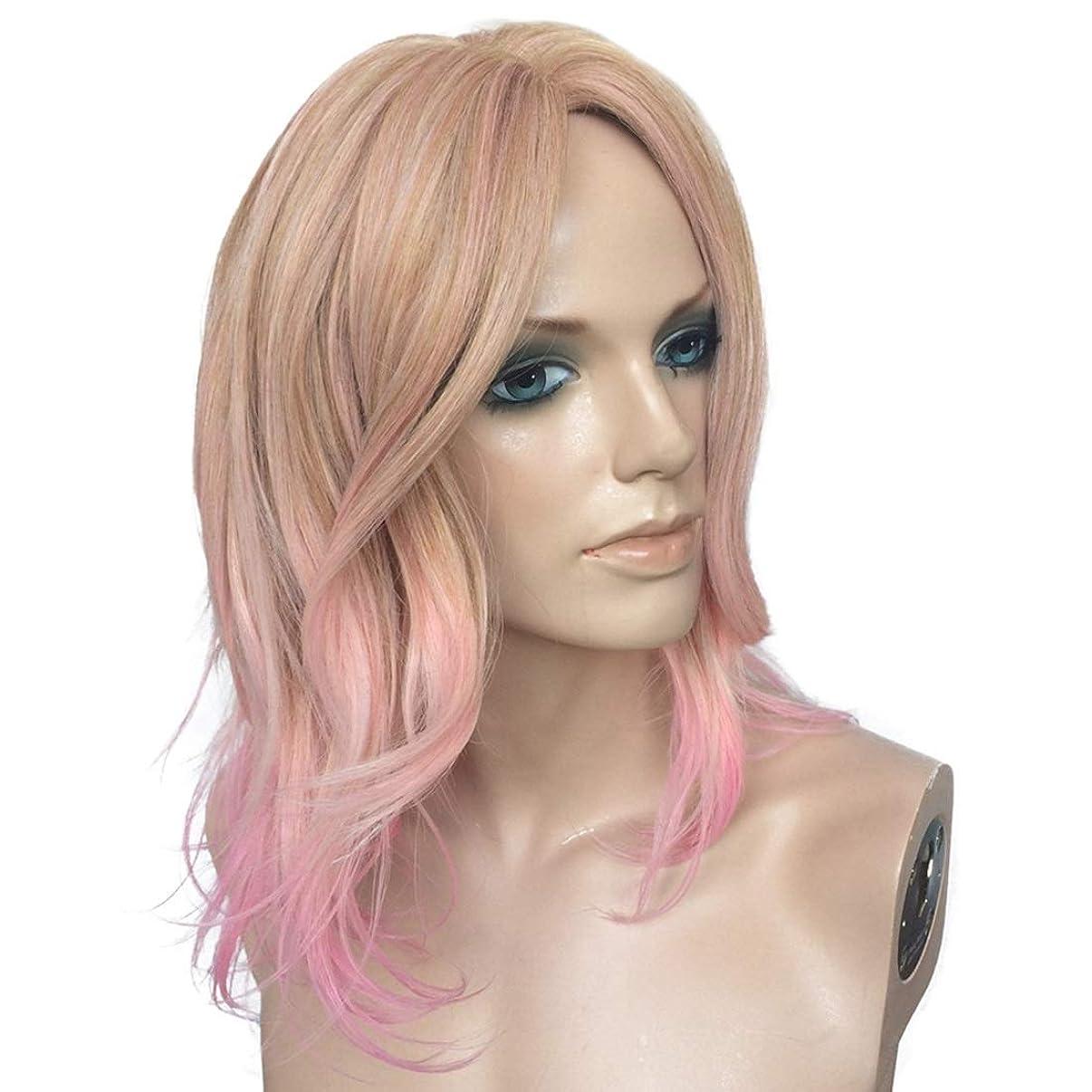 ウェーハ抗議Koloeplf ミックスカラーマイクロロールピンクミディアムロングオベリスクバングウィッグファッションヨーロッパとアメリカのウィッグ (Color : Mixed color pink)