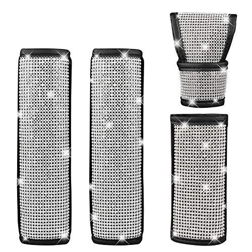 GES 2 Packs Univeral Diamond Leather Seat Belt Shoulder Pads for Women,...