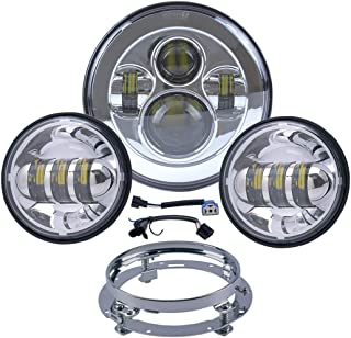 Motorcycle 7 Inch Harley LED Headlight Fog Lights Kit Set Ring For Road King Ultra Classic Electra Strees Glide Fat Boy