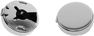 Ms.Iconic 15 مم فضية، أزرار أكمام دائرية سوداء ذات أساور أكمام دائرية للأعراس قميص رسمي 1زوج / قطعتين