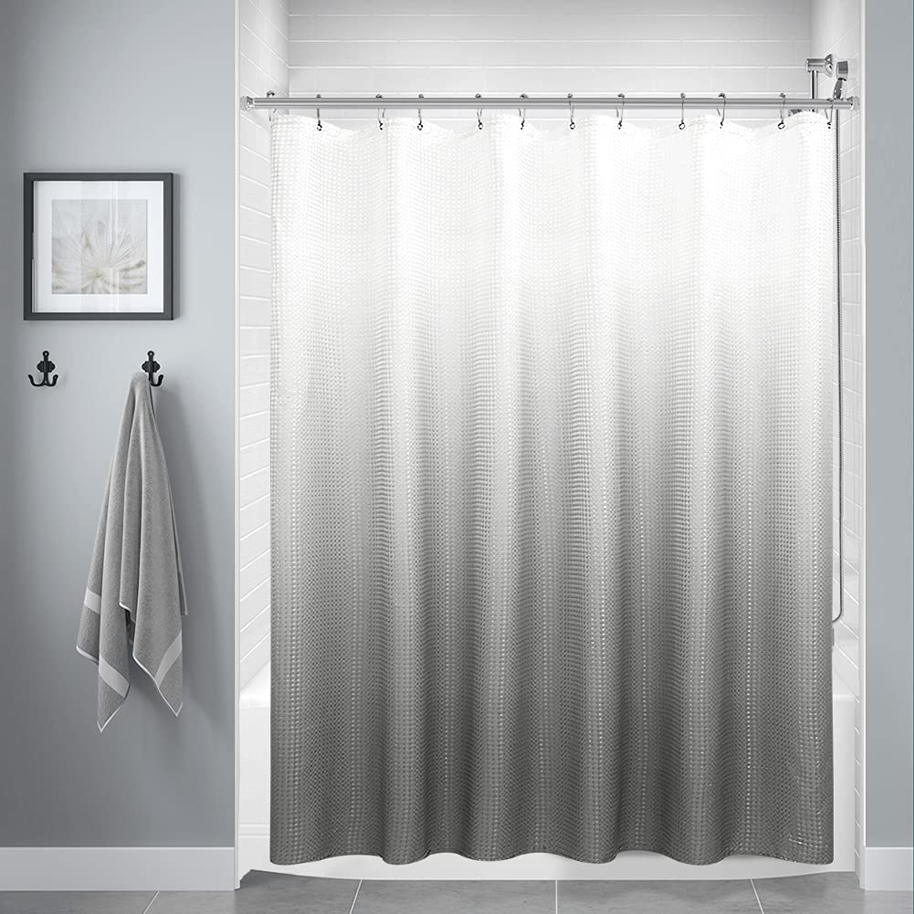 Grey Shower Curtains for Bathroom, Polyester Ombre Shower Curtains for Bathroom, Waterproof Shower Curtain Liner with 12 Hooks,Machine Washable(72 x 72 inch,Grey)