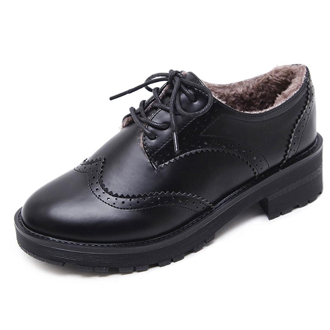 フラップ不愉快バッグ[サニーサニー] ブーツ レディース ブーティー オックスフォードシューズ ブローグ ボア付き 通学 レースアップ 太ヒール ローヒール 歩きやすい 可愛い コンフォート 柔らかい 軽量 快適 カジュアル 黒