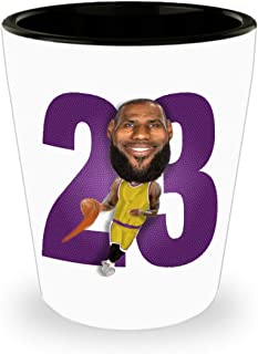 Lebron Lakers Shot Glass Gift for LA Basketball James Sports Fan Birthday Christmas 1.5oz Caricature Ceramic Jigger Toothpick Holder Pill Cup