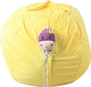 wuliLINL Stuffed AnimalPlush Toy Storage Bean Bag Chair - Sit Organization for Kids Toy Storage Soft Pouch Stripe Fabric Chair