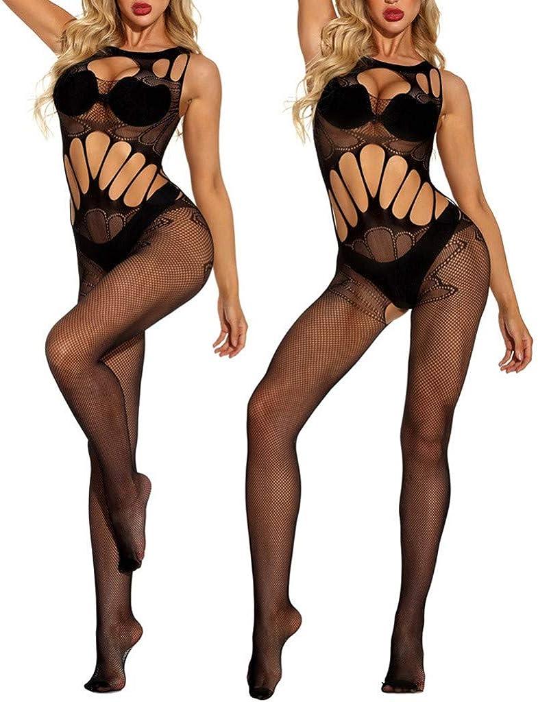 Fishnet Lingerie for Women Snap Crotch Black Lace One Piece Deep V Neck Sexy Slutty Underwear Elastic Fit Bodysuit