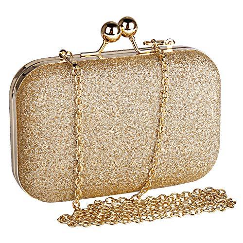Beautyshow Clutch Glitzer, Damen Abendtasche Gold Clutch Elegante Handtasche Kette Umhängetasche für Braut Hochzeit Party Abschlussball, Halten Telefon bis zu 6,1 Zoll - Gold