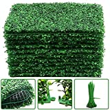 """12Pcs Boxwood Panels- 16""""x24"""" Boxwood Hedge Wall Panels, Grass Wall Backdrop for 31 SQ Feet Per Boxwood Hedge Set UV Protected Privacy Hedge Screen Faux Boxwood for Outdoor, Indoor, Fence, Garden"""