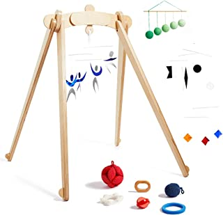 Monti Kids The Activity Gym Level 1 Includes Wooden Baby Gym/Baby Activity Center with Montessori Mobiles, Toys & Rattles; Parent Education and Support from Montessori Educators. Safety Certified.