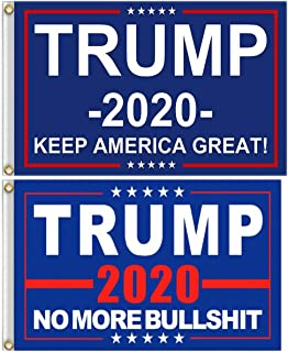 ERT Donald Trump Flag 3X5 Foot - 2020 Trump President Flags Keep America Great Flag 3x5 ft with Brass Grommets MAGA (Trump 2 Pieces Flag A)