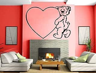 Valentines Day Teddy Bear Cares Heart Wall Mural Vinyl Art Sticker VK418