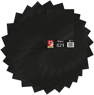 Lot de 25 feuilles de papier de traceur 621/631 - Format A4 - En vinyle - Pour tracer soi-même - 29,7 x 21 cm - Noir brillant