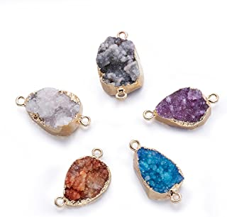 Fashewelry 5 pcs Mixed Gold Plated Natural Flat Round Druzy Agate Links Jewelry Connector for Jewelry Making Beads (Oval Style)