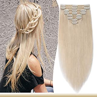 18inch Clip in Human Hair Extensions Platinum Blonde Double Weft Thick 8pcs 18 clips on 8A Grade Soft Straight 100% Remy Hair (#60,140g)