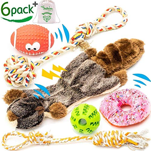 JuJuNe pets, Small and Medium Dog Toys Set 6 Pack, Rubber Ball, Nontoxic Latex Rugby Dog Toy, Durable & Natural Cotton Tug Ropes, Plush Squeaky Donut, Plush Marmot Squeak Dog Chew Toys for Puppies