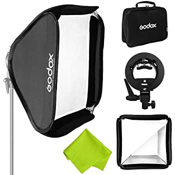 "Godox 32""x 32"" 80cmx80cm Foldable Universal Softbox with S-Type Speedlite Bracket for Flash Bowens Elinchrom Mount Accessories Direction Adjustable"