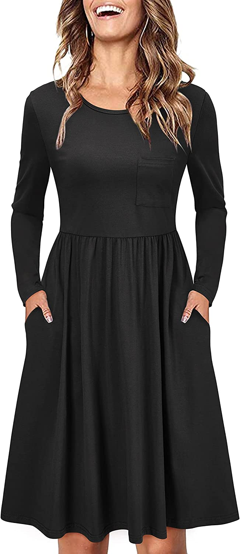 KILIG Women Long Sleeve Round Neck Casual Striped T Shirt Midi Dress with Pockets