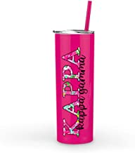 Kappa Kappa Gamma sorority Stainless Steel Tumbler with Straw Cute Sister gift Vinyl decal Insulated Hot Pink