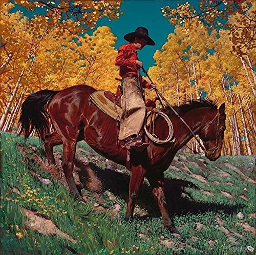 Pintura de diamante 5D, pintura de diamante DIY, pintura de bordado de diamante completo,American West Riding Cowboy,kit de pintura de diamante para la decoración de la pared del hogar,(40x60cm)