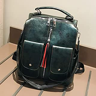 Women Backpack Soft Leather College Backpack Female Large Capacity Bag Tassel School Bag Mochila Feminina (Colore : Green, Size : M)
