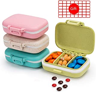 4PCS Pill Cases 3 Removable Compartments Pill Box Organizer Medicine Travel Pill Case for Pocket or Purse Daily Pill Box (4PCS Pill Cases 3 Removable Compartments)