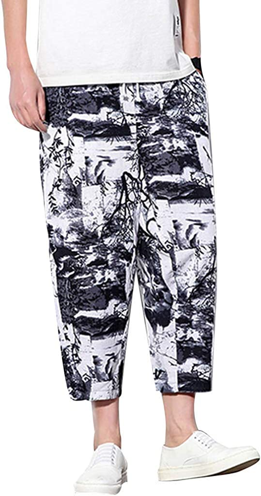 DIOMOR 2019 Summer Linen Fashion Capri for Men Vintage Print Drawstring Relaxed Fit Pants Retro Trendy Casual Shorts