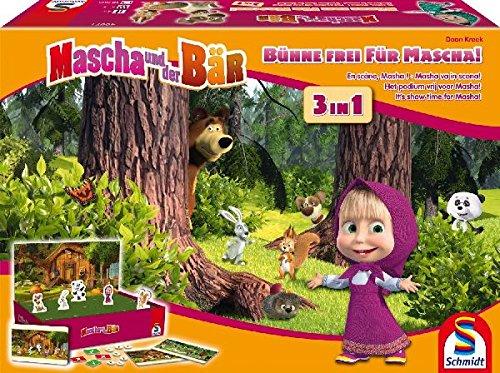 Schmidt Spiele 40571 - Mascha und der Bär, 3-in-1, Bühe frei für Mascha