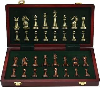 Juego de ajedrez de madera de 11 pulgadas, con piezas de ajedrez de metal, juego de mesa de ajedrez para adultos, grande d...