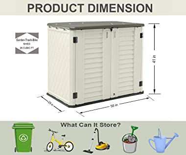 HOMSPARK Horizontal Storage Shed Weather Resistance, Multi-Purpose Outdoor Storage Box for Backyards and Patios, 26 Cubic Fee