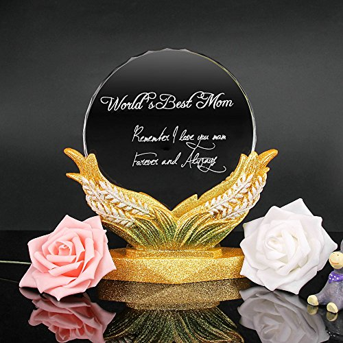 QTMY Crystal Gold Panicle World's Best Mom Trophy Award Remember I Love You Mom Forever and Always