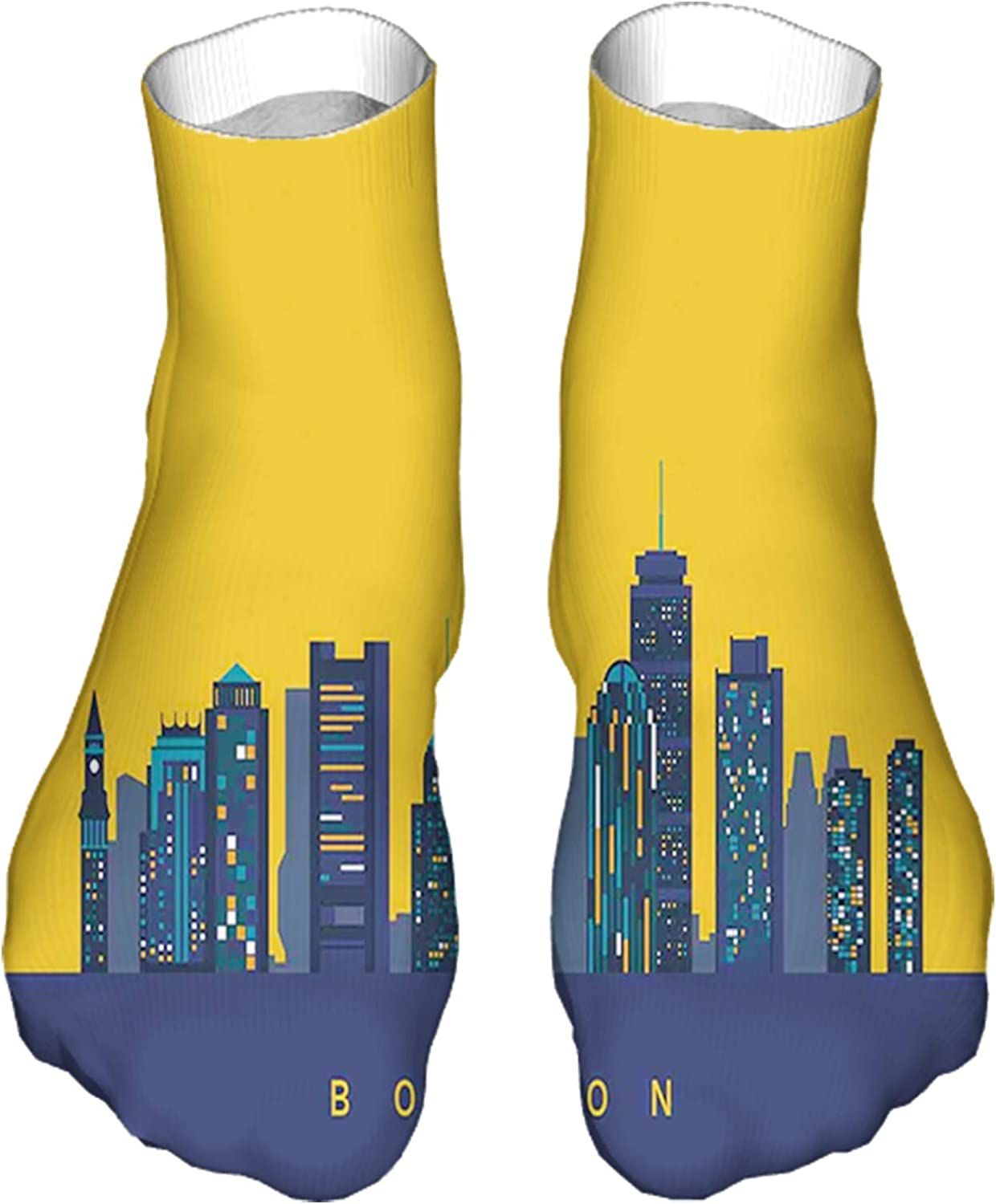 Men's and Women's Fun Socks Printed Cool Novelty Funny Socks,Iconic Buildings Flat City Illustration and Egg Yolk Color