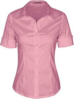 Womens Tailored Short Sleeve Basic Simple Button-Down Shirt with Stretch