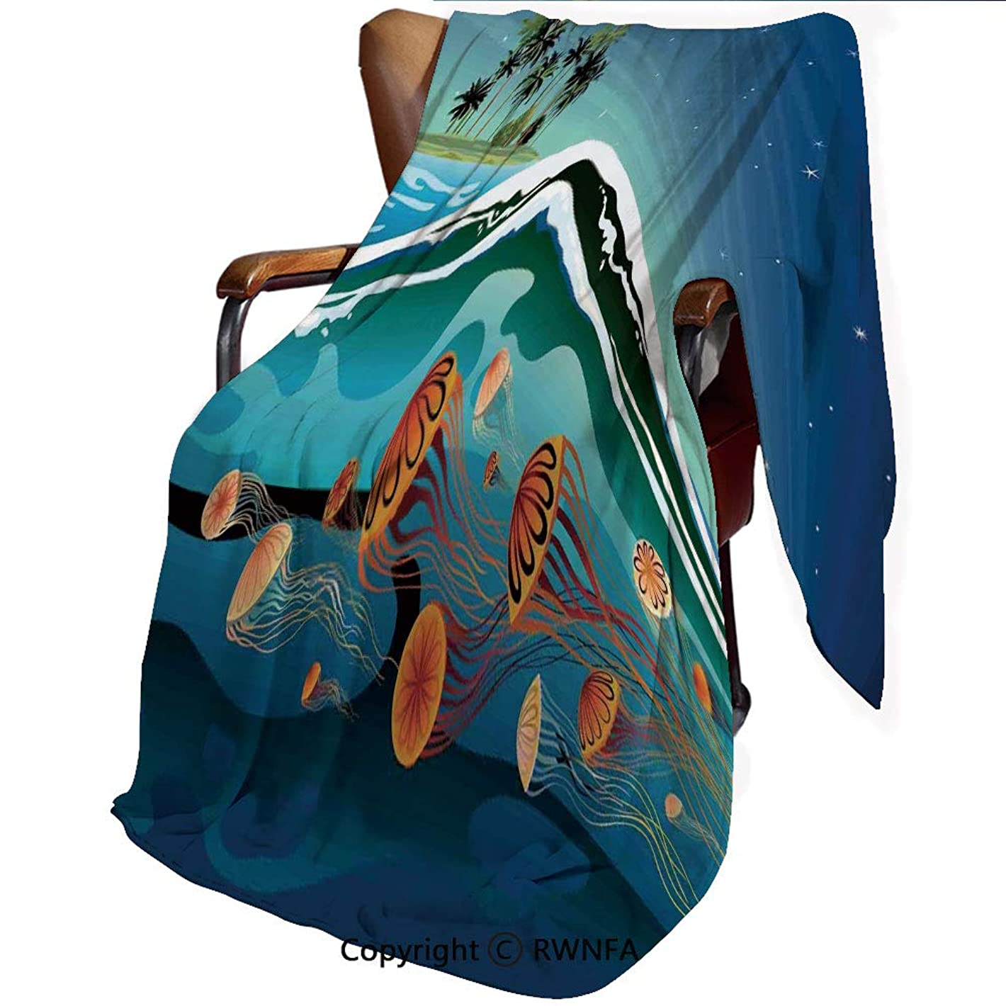 追うデータムクラゲの装飾 毛布 ブランケット もうふ シングル 羽織 あったか ふわふわ 柔らかい マイクロファイバー 丸洗いOK 抗菌防臭 防ダニ加工 静電気防止 海のクラゲとココナッツ島の木星空の下で波 140*200cm ネイビーマスタード