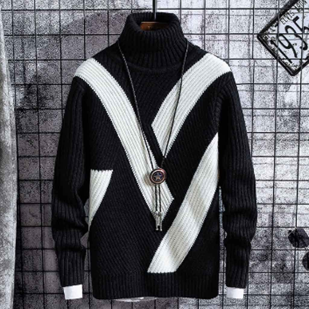 ZYING Winter Thick Warm Sweaters Men Turtleneck Casual Patchwork New Mens Christmas Sweater Loose Pullover Male Knitwear Brand Clothes (Color : A, Size : XXL Code)