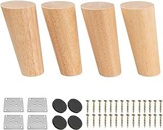 7 inch massief houten meubelpoten, Btowin 4 stks Mid-Century moderne ronde houten vervangende voeten met & montageplaat & ...