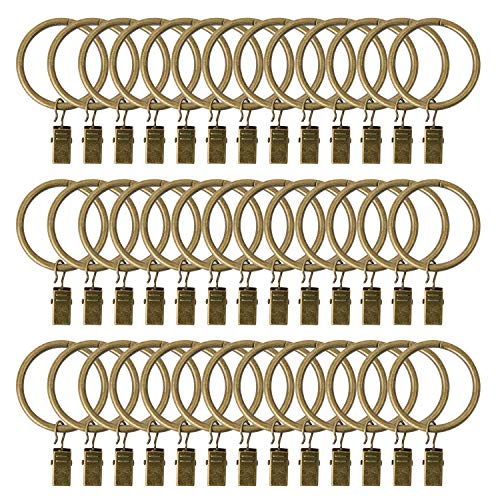 Curtain Rings with Clips, 1.5 Inch Interior Diameter Set of 36 Pack Strong Metal Decorative Drapery Window Curtain Ring Hooks with Clip Rustproof Vintage (Antique Bronze)