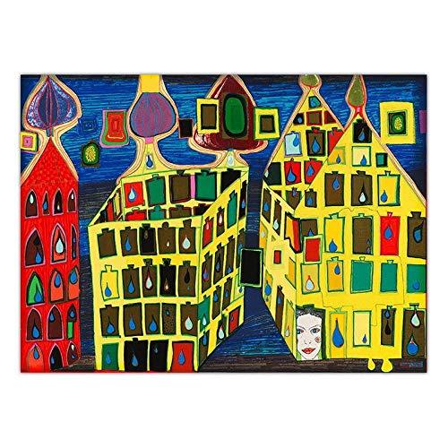 Kunstdruck Auf Leinwand,Österreichischen Friedensreich Hundertwasser Kunst, Karierte Hochhaus Straße, Für Haus Hotel Bar Wohnzimmer Schlafzimmer Fenster Dekor, Raum Teiler, Wand Hintergrund, Pickn