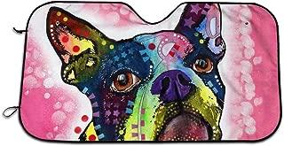 Car Windshield Sun Shade Boston Terrier Dogs Sunshade Portable Big Colorfull Cartoon Car Window Sun Shades Automotive Outdoor UV Protector Sun and Heat Reflector Folding Sun Visor Shield Cover
