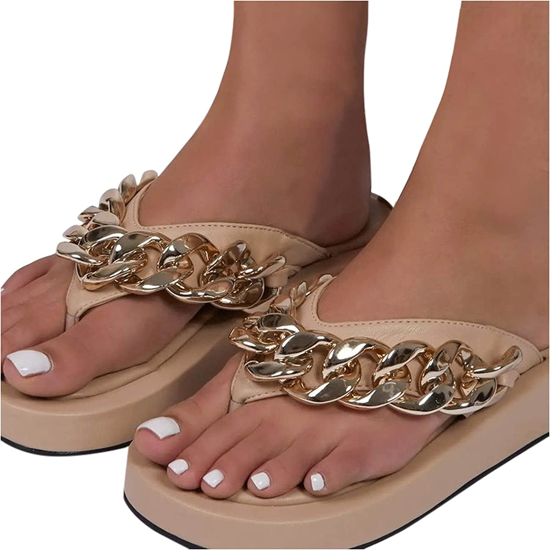 Olymmont Summer Flip Flops for Women Metal Chain Casual Clip Toe Platform Slippers Non-Slip Waterproof Slides Slip-On Thick Bottom Sandals (Beige, 9.5-10)