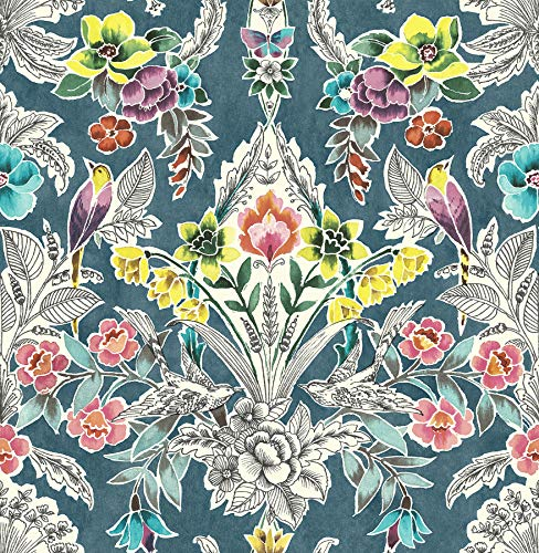 NuWallpaper NU3037 Summer Love Teal Peel & Stick, Multi-Color Wallpaper, Multicolor