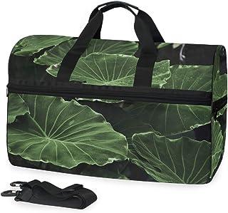 Montoj Übergroße Reisetasche aus Segeltuch mit Lotusblatt-Motiv, Dunkelgrün