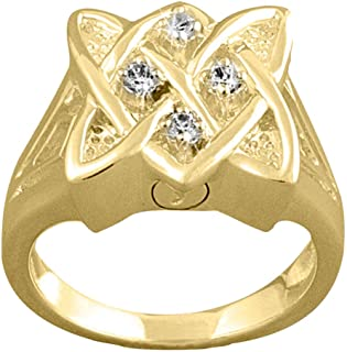 Perfect Memorials Celtic Knot 14k Gold Vermeil Cremation Ring Size 7