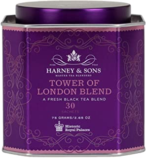 Harney & Sons Tower of London Black Tea Blend with Dried Stone Fruit, Bergamot and Honey Flavors, 30 Count