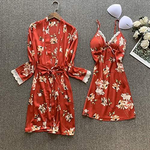 2020 Frauen Robe Kleid Sets Sexy Spitze Schlaf Lounge Pijama Langarm Damen Nachtwäsche Bademantel Nachtkleid Mit Brustpolstern-Wine Red5-1-XL