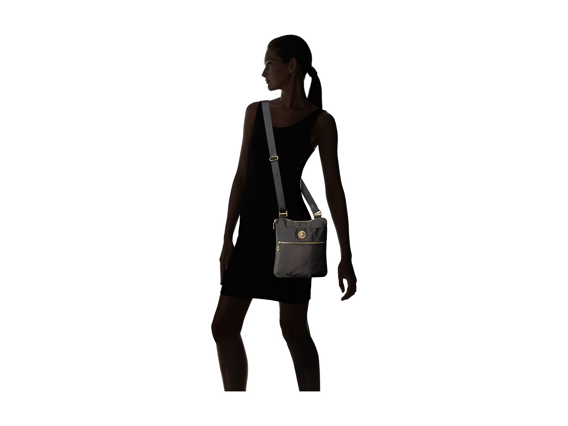 Baggallini Baggallini Hanover Gold Charcoal Crossbody Gold x7ZFxTp