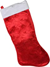 CLESH Christmas Stocking Classic Giant Red Plush Traditional Elegant Tree Stocking Solid Family Presents White Fold Over Cuff Stocking Christmas 35