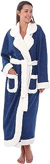 Women's Plush Fleece Robe, Warm Solid Color Bathrobe